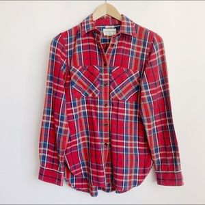 soft cotton ladies red flannel buttonup shirt